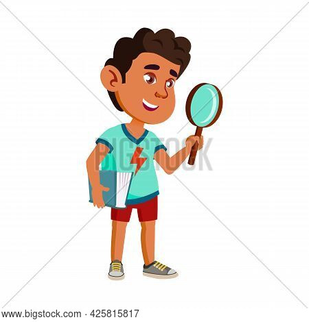 Boy Child Scientist With Magnifier Tool Vector. Happiness Hispanic Schoolboy Kid Scientist Holding B