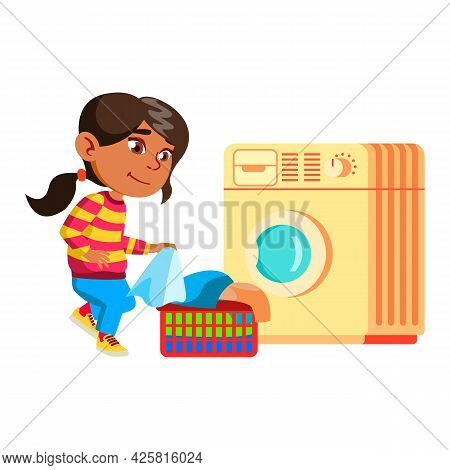 Girl Child Doing Laundry Housework Routine Vector. Lady Kid Prepare Clothes For Washing In Laundry M