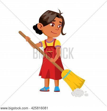 Girl Child Sweeping House Floor With Broom Vector. Smiling Indian Lady Kid Sweep And Clean Home With