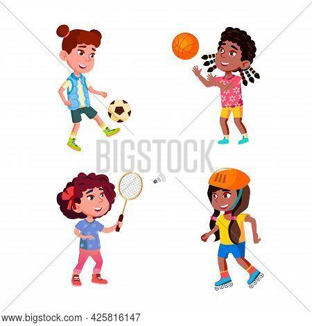 Girls Children Playing Sportive Game Set Vector. Ladies Sportsgirls Training Football And Basketball