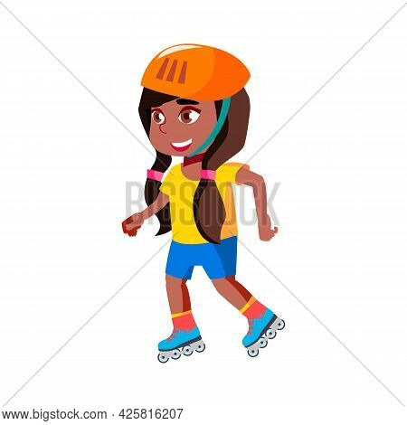 Girl Child Riding Roller Skates In Park Vector. African Happy Lady Kid Wearing Protective Helmet Rid