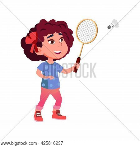Girl Child Playing Badminton Sport Game Vector. Happiness Caucasian Lady Player Play Badminton With
