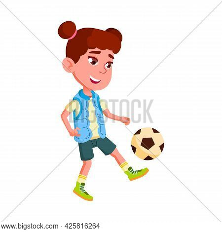 Girl Child Playing Football Team Sport Game Vector. Happiness Caucasian Preteen Kid Play Football. C