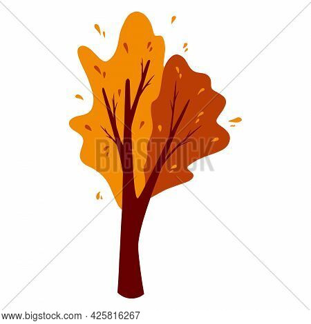Abstract Autumn Tree. Ornamental Plant. Cartoon Style.