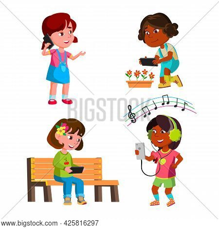 Girls Kids Using Smartphone Gadget Set Vector. Preteen Ladies Use Smartphone For Communication And M