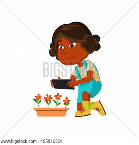 Girl Child Make Photography On Smartphone Vector. African Preteen Lady Making Photo Shoot On Smartph