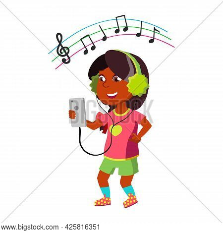 Girl Listen Music In Headphones From Phone Vector. Happiness Indian Preteen Lady Listening Music In