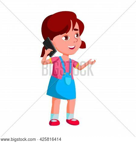 Girl Kid Calling And Talking On Smartphone Vector. Caucasian Preteen Schoolgirl Call And Talk On Sma