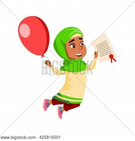 Girl Child Celebrate Victory In Competition Vector. Arabian Lady Kid Holding Certificate And Air Bal