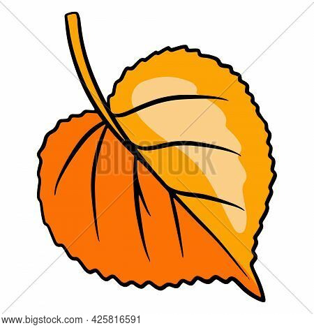 Carved Autumn Leaf. Nature Bright Leaves Of Trees. Cartoon Style.