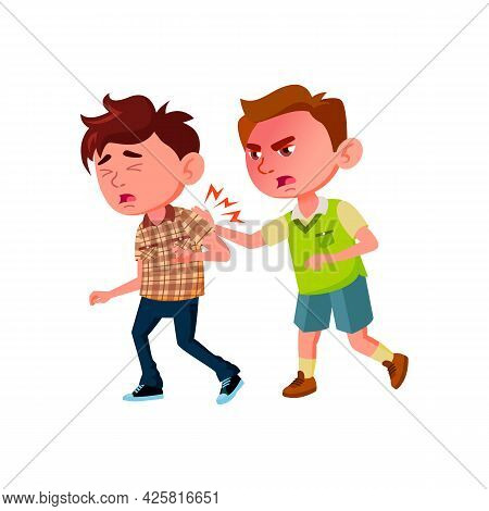 Aggressive Boy Kicking Classmate In School Vector. Angry Schoolboy Kicking Child, Conflict And Fight