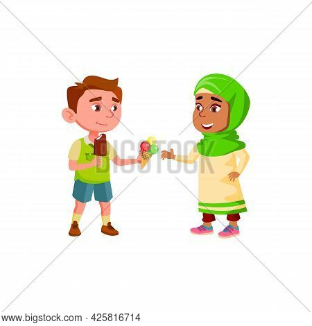 Boy Sharing Ice Cream With Friend Girl Vector. Caucasian Preteen Kid Giving Delicious Ice Cream Dess
