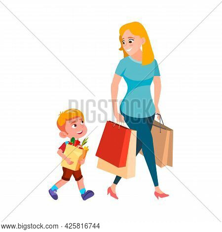 Boy Child Help Woman Carrying Shopping Bag Vector. Polite Son Kid Help Mother Carry Shopping Bag Pac