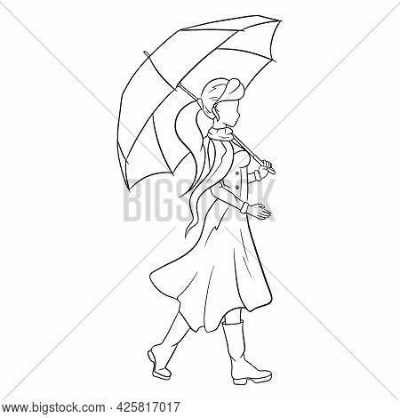 Young Girl With An Umbrella For A Walk. Autumn, Rain. Line Style.