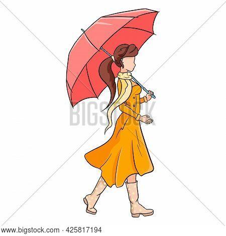 Young Girl With An Umbrella For A Walk. Autumn, Rain. Cartoon Style.