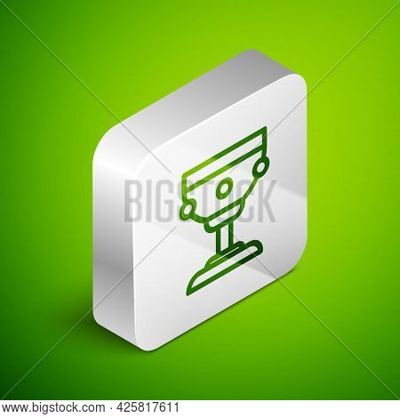 Isometric Line Christian Chalice Icon Isolated On Green Background. Christianity Icon. Happy Easter.