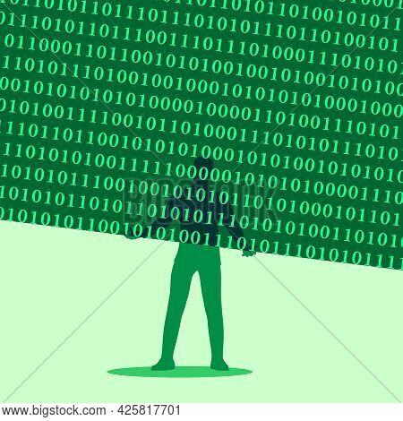 Man Holding Digital Matrix In His Hands