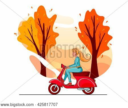 Autumn Park Trees And A Girl On A Red Scooter. Cartoon Style.