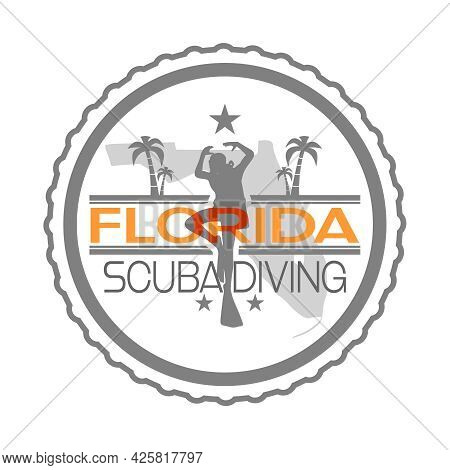Stamp With Silhouettes Of Diver, Pald And Florida Map
