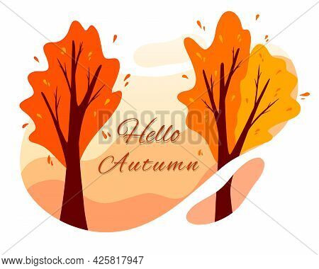 Autumn Background. Autumn Park Trees In Bright Colors, Yellow, Orange.