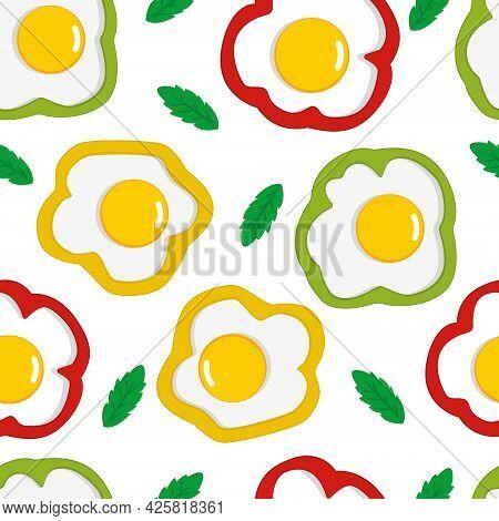 Scrambled Eggs Pattern. Broken Eggs Seamless Pattern. Breakfast Background. Seamless Food Vector Pat
