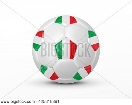 Soccer Ball With The Italy National Flag Isolated On White Background. Italy National Football Team