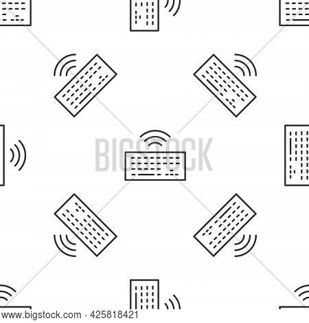 Grey Line Wireless Computer Keyboard Icon Isolated Seamless Pattern On White Background. Pc Componen