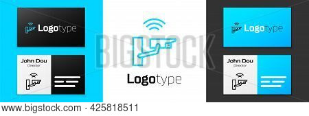 Blue Line Smart Security Camera Icon Isolated On White Background. Internet Of Things Concept With W