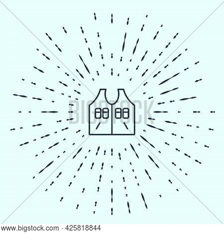 Black Line Hunting Jacket Icon Isolated On Grey Background. Hunting Vest. Abstract Circle Random Dot
