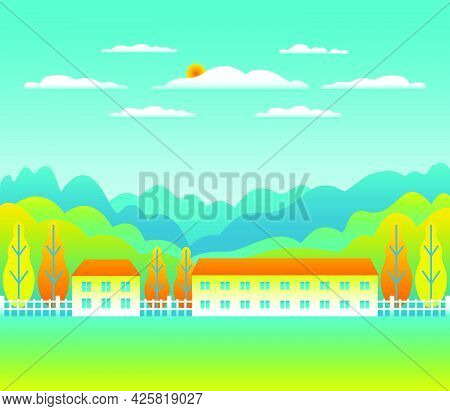 Landscape Village, Mountains, Hills, Trees, Forest. Minimal Rural Valley Scene. Farm Countryside Wit