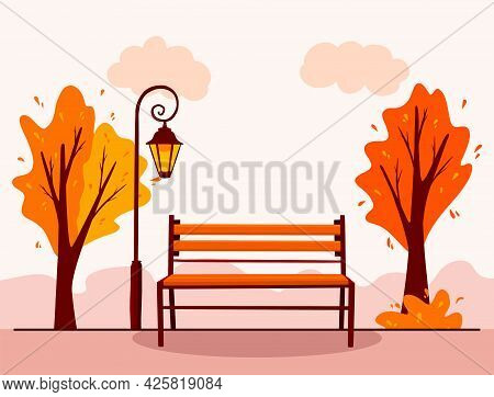 Autumn Landscape. Background. City Park. Park Bench, Lantern.
