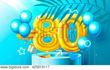 80 Off. Discount Creative Composition. 3d Golden Sale Symbol With Decorative Objects, Heart Shaped B