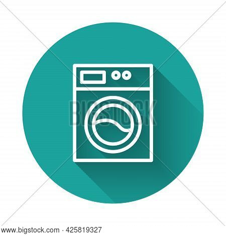White Line Washer Icon Isolated With Long Shadow. Washing Machine Icon. Clothes Washer - Laundry Mac