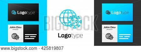 Blue Line Earth Globe With Virus Icon Isolated On White Background. Corona Virus 2019-ncov. Bacteria