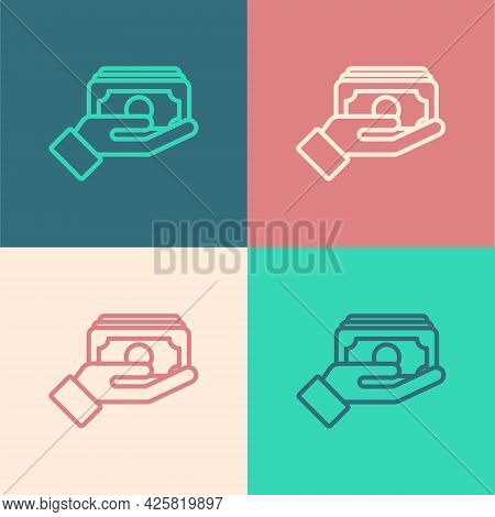Pop Art Line Stacks Paper Money Cash In Hand Icon Isolated On Color Background. Insurance Concept. M