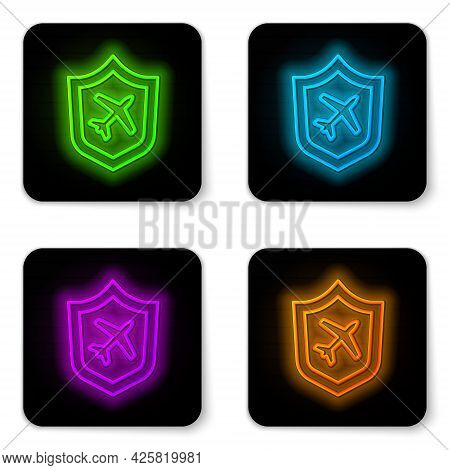 Glowing Neon Line Plane With Shield Icon Isolated On White Background. Flying Airplane. Airliner Ins