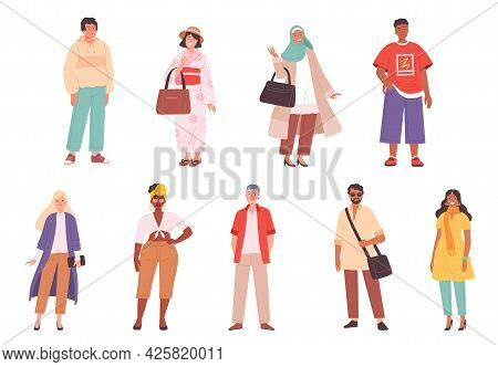 Multiracial Characters. Fashioned Outfit Person Various Clothes In Casual Style Pants Jackets Hat Dr