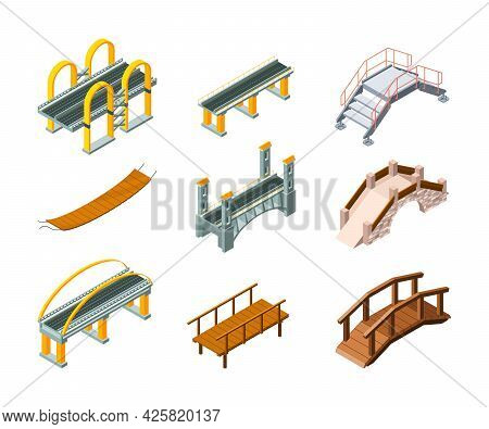 Isometric Bridges. Urban Architectural Objects Highway For Automobiles And Railway Across Water Park