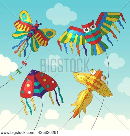 Fly Kites. Beauty Joyful Outdoor Kites In Sky Cloudy And Shiny Weather Recent Vector Illustrations I