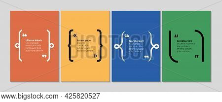 Quote Text Banners. Brackets Bubble With Commas, Cards For Slogan, Description Vector Template