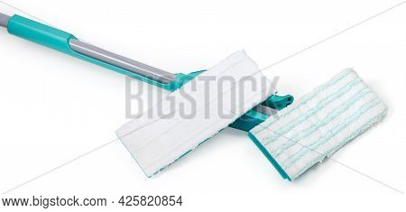 Bottom Part Of Flat Wet Mop And Additional Replaceable Working Head On A White Background