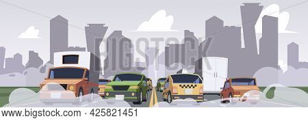 Air Pollution From Car. Smoke Environment Industrial Traffic Save Ecology Garish Vector Pollution Ur