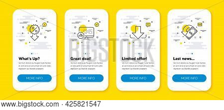 Vector Set Of Discount, Report Statistics And Download Line Icons Set. Ui Phone App Screens With Lin