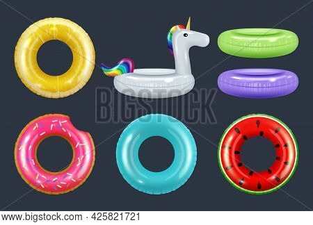 Swimming Rings. Colored Inflatable Safety Rubber Donut Equipment For Water Vacation Summer Attractio