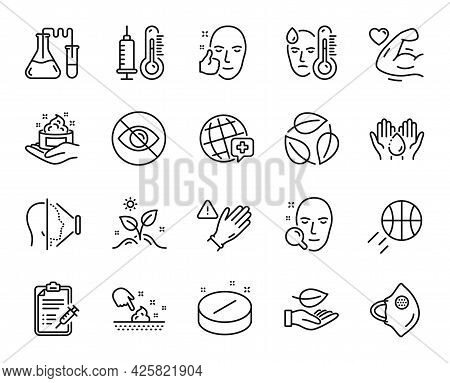 Vector Set Of Use Gloves, Not Looking And Grow Plant Line Icons Set. Face Search, Face Id And Skin C