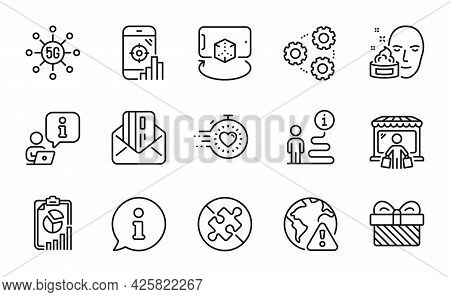 Business Icons Set. Included Icon As No Puzzle, Credit Card, Report Signs. Augmented Reality, 5g Tec