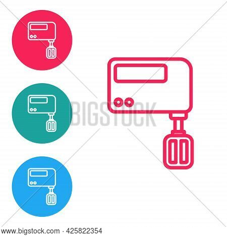 Red Line Electric Mixer Icon Isolated On White Background. Kitchen Blender. Set Icons In Circle Butt