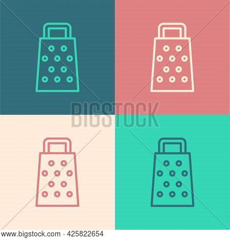 Pop Art Line Grater Icon Isolated On Color Background. Kitchen Symbol. Cooking Utensil. Cutlery Sign