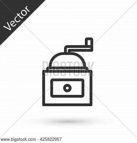 Grey Line Manual Coffee Grinder Icon Isolated On White Background. Vector