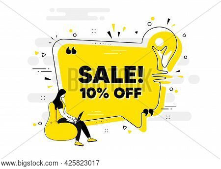 Sale 10 Percent Off Discount. Idea Chat Bubble Banner With Person. Promotion Price Offer Sign. Retai
